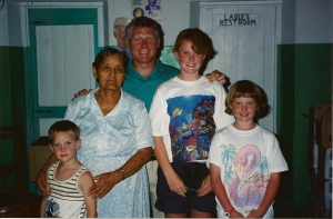Visiting Mrs. Pearl Ingraham in 1992